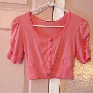 Papaya Pink Cropped Cardigan with Short Sleeves